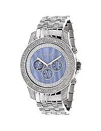Mens Diamond Watches Blue MOP 0.5ct Luxurman Freeze