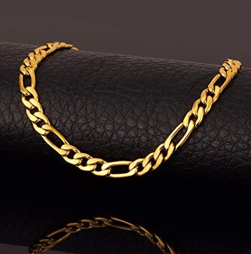 FidgetKute Pulsera de Oro 18k para Cadena Figaro joyería de alta calidad