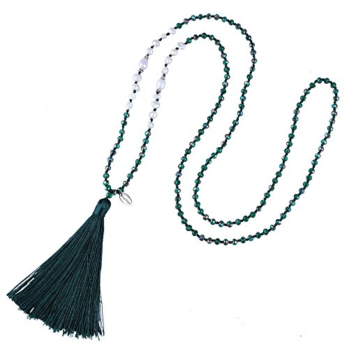 KELITCH Bohemian Tassel Pendant Necklace for Women Fashion Jewelry Necklace Bracelet, Black (Casual Green Necklace)