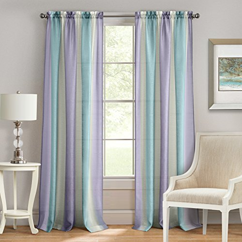 Achim Home Furnishings Spectrum Rod Pocket Window Curtain Panel 50 X 84 Lilac Turquoise