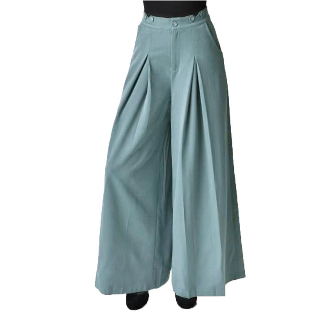 Hot Sale Leedford Women Casual Pleated High Waisted Wide Leg Palazzo Pants Suspenders Trousers (L, Blue)