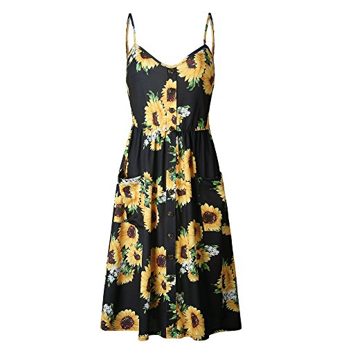 Bishop Style Dress - Nuofengkudu Womens Summer Cute Floral Printed Bohemian Spaghetti Strap Button Down Swing Midi Dress with Pockets