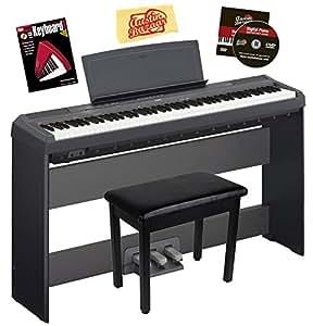 Yamaha P-115 Digital Piano - Black Bundle with Yamaha L-85 Stand, LP-5A Pedal, Furniture Bench, Instructional Book, Austin Bazaar Instructional DVD, and Polishing Cloth