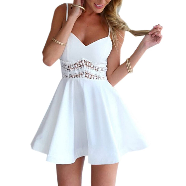Minetom Damen Sexy Sommerkleid kurz Ärmellos V-Ausschnitt Spitze Spleiß strandkleider Rock Partykleid Cocktaikleid