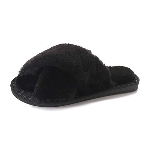 2557d9e8ea2da Joy   Lemon Women s Indoor Slippers Open Toe House Shoes Faux Fur Bedroom  Slippers Spa Slides