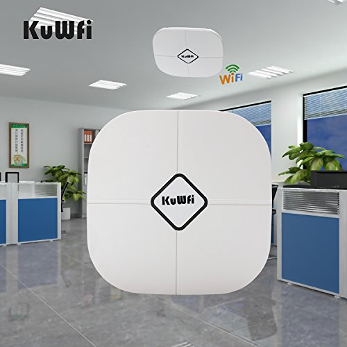 KuWFi 600Mbps 2.4G/5.8G Dual Band 802.11AC Indoor Ceiling Mount Wireless Access Point Wifi Repeater Router 802.3af PoE Router AP (not including 48V POE) by KuWFi