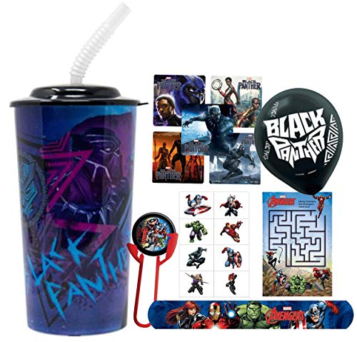 Avengers Black Panther Fun Sip Favor Cup, Easter Basket Filler, Stocking Stuffer or Party Favor! Pre-Filled & Ready for Giving! Includes Keepsake Tumbler, Stickers & Favors! ()