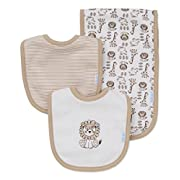 Little Me Baby Boy Newborn Bib and Burp set, Ivory Multi, One Size