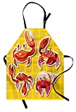 Ambesonne Crabs Apron, Stickers of Four Different Crabs Illustration in Cartoon Style Print, Unisex Kitchen Bib Apron with Adjustable Neck for Cooking Baking Gardening, Earth Yellow and Orange