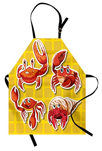 Ambesonne Crabs Apron, Stickers of Four Different Crabs Illustration in Cartoon Style Print, Unisex Kitchen Bib Apron with Adjustable Neck for Cooking Baking Gardening, Earth Yellow and Orange (Earth Day Apron)