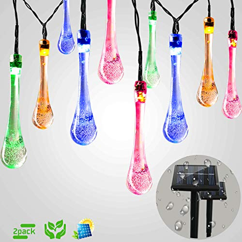 Solar String Lights Outdoor 30 LED String Lights Solar Powered Waterproof Solar Fairy Lights Crystal Waterdrop Lights Led Solar Lights Outdoor Decor for Patio,Christmas ,Home ,Wedding( 2P Multi color)