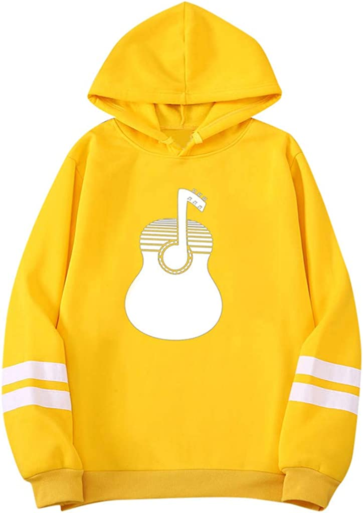 HomeMals Personality Mens Tops Musical Prints Autumn and Winter Hoodie Solid Color Couple Sweater Blouse for Men