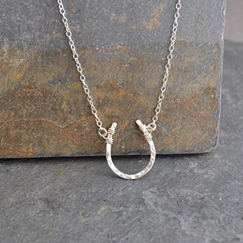 Lucky Horseshoe Necklace - Sterling Silver Hammered, 16-inch chain length