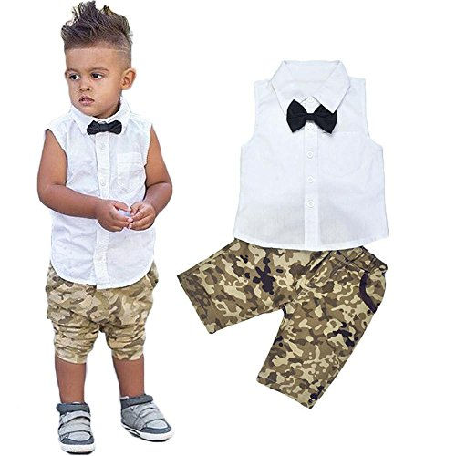 FEITONG 1Set Newborn Toddler Baby Infant Boys Girls Outfit Vest Tops+Shorts Clothes Age:18-24M, Black