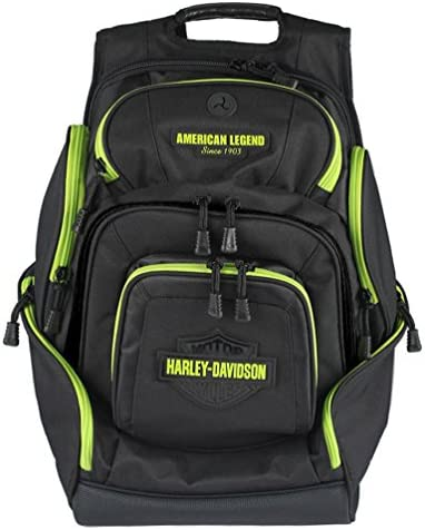 Harley-Davidson Sculpted Bar Shield Lime Deluxe Backpack, Black BP2000S-LIMBLK