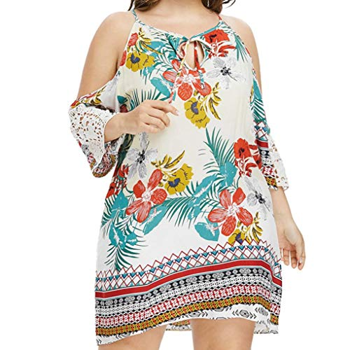 HYIRI Large Size Women Off-Shoulder Lace Sleeve Printed Front Collar Bow Dress -