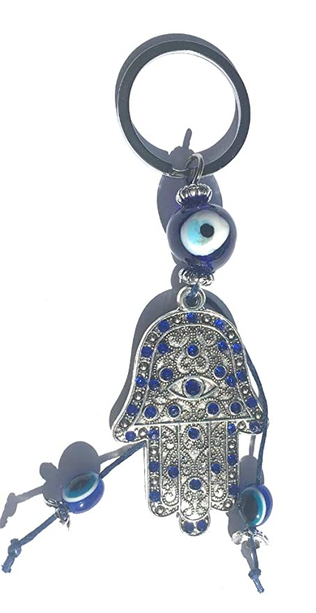Mano Fatima Llavero Adornos Azules y Ojo Turco para el Mal de Ojo metálico