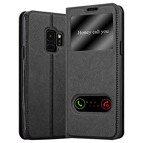 Cadorabo Book Case Works with Samsung Galaxy S9 in Comet Black - with Magnetic Closure, 2 Viewing Windows and Stand Function - Wallet Etui Cover Pouch PU Leather Flip ()