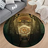 Nalahome Modern Flannel Microfiber Non-Slip Machine Washable Round Area Rug-eval Secret Passage with Torch and Golden Clock on Wall Mystery in Temple Print Grey Teal area rugs Home Decor-Round 75''