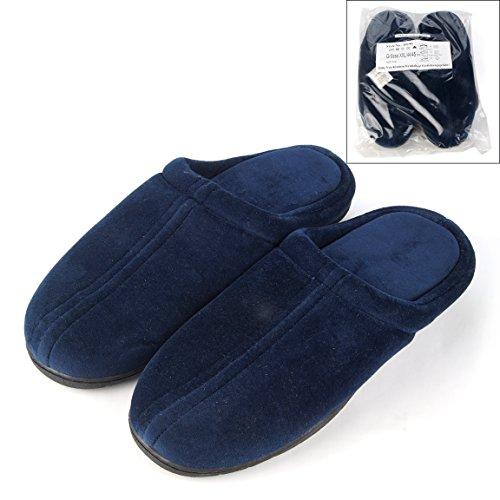 Herren Hausschuhe Pantoffeln, mit Memory Einlegesohle, blau, Gr. XXL/44/45