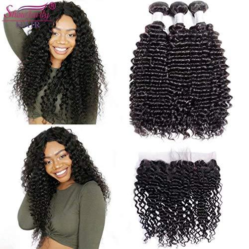 8A Indian Deep Wave 3 Bundles SHOWJARLLY Indian Deep Curly Virgin Hair Raw Virgin Indian Remy Hair Weave 3 Bundles Curly Weave Human Hair (indian-18 20 - Indian Weave Remy