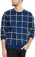 Maniac Men's Cotton T-Shirt (Mens-Ss18-Rn-Fs-Checked-Tshirt-Navy)