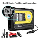 Tire Inflator Portable Air Compressor Pump| Precise Digital Gauge Display | 12V DC 100PSI 50L/min | Auto Shutoff | Dual Cylinder for car motorcycle basketball bicycle etc For Sale