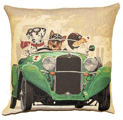 Authentic Jacquard Cotton Woven European Tapestry Throw Pillow Covers / Decorative Gifts Cushion Cases 18X18 in Vintage Dogs Dalmatian,Yorkshire Terrier and Jack Russell in Classic Green Race Car