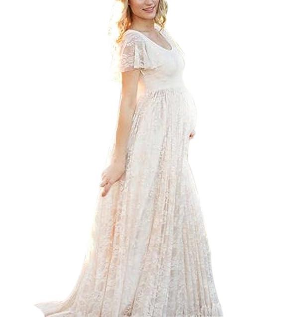 Hibasing Vestido de maternidad de la fotografía, vestido embarazado de manga corta elegante de encaje