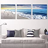 The living room decorated with paintings of No 3 box art wall clock sofa wall mount the 4040cm,a