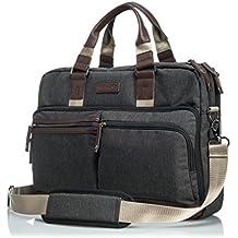 """GLACIAL Executive Messenger Bag - Large Leather & Polyester Shoulder Bag for Men - Fits 15"""" Laptop & Tablet - Detachable Padded Nylon Comfort Strap - For Work & School"""