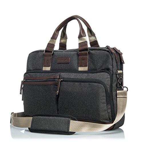"""GLACIAL Executive Messenger Bag - Large Leather & Polyester Shoulder Bag for Men - Fits 15"""" Laptop & Tablet - Detachable Padded Nylon Comfort Strap - For Work & School - Executive Briefcase Bag"""
