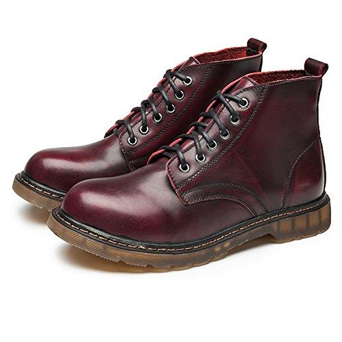 color Rojo Alto Cordones Zapatos Cuero Xiazhi Tobillo Eu Tacón Caballeros shoes Clásico Oxfords Para 37 Tamaño Con Hombre De Marrón 0Hw06PxCq