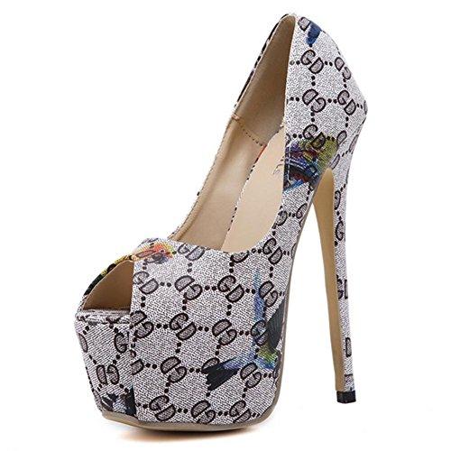 MZG Las mujeres altos Primavera Verano Otoño Invierno tacones altos boca de los pescados Boca baja impermeable Tabla noche tienda Zapatos Black