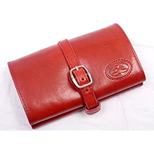 Tony Perotti Italian Bull Leather Compact Jewelry Roll Travel Organizer, Red