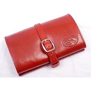 Tony Perotti Italian Bull Leather Compact Jewelry Roll Travel Organizer, Red