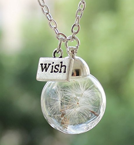 Handmade Real Dandelion Wish Necklace Make A Wish Real Dandelion Seed Pendant Necklace Dried Pressed Flower Charms Pendant Necklace Graduation Gift