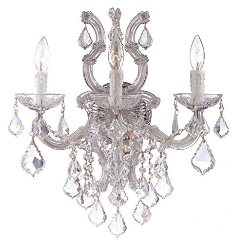 (Crystorama 4433-CH-CL-SAQ Crystal Three Light Bathroom Lights from Maria Theresa collection in Chrome, Pol. Nckl.finish, 11.00 inches)