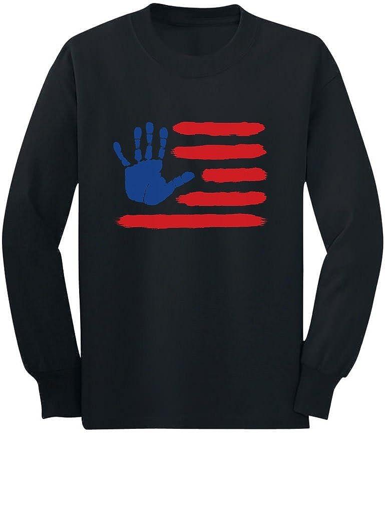 4th of July Hand Print American Flag USA Toddler//Kids Long Sleeve T-Shirt