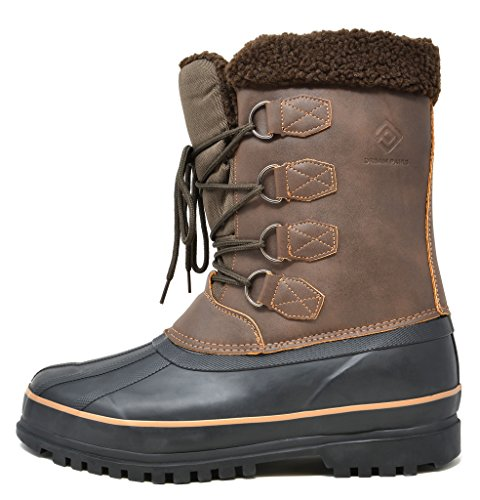 DREAM PAIRS Mens Insulated Waterproof Winter Snow Boots Brown-t dZkBja