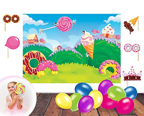 (Candy Land Theme Photo Booth Backdrop and Props - Make a Photo Booth and Photography Backdrop for Parties   Candy Birthday Party Decorations for Girls & Candy Birthday Party Supplies)