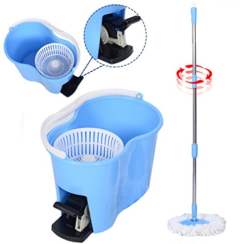 Microfiber Spinning Mop Easy Floor Cleaning W/Bucket 2 Heads 360 Rotating Head Washable Micro Fiber Fabric Mop Blue Stainless Steel Handle Brand - Tops Purple Asda