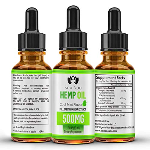 SoulSpa Hemp Oil for Pain Relief 500 mg - Anti Anxiety : Stress Support : Sleep Supplements - Pure Organic Full Spectrum Oil - 30 ml Tincture Drops - Rich Omega Supplement - Cool Mint Flavor
