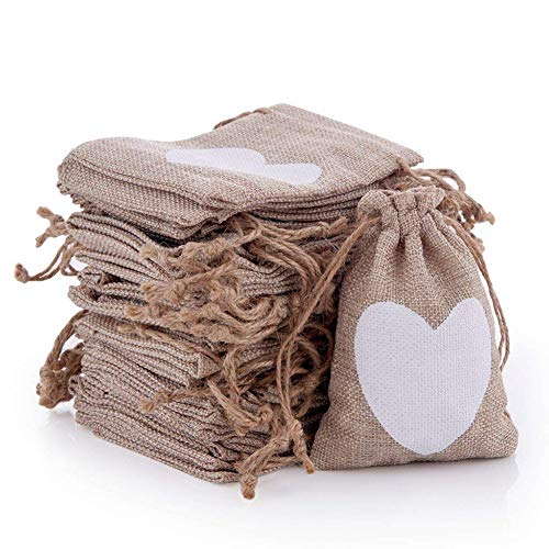 50 Pack Small Burlap Bags with Drawstring Gift Pouches Heart Print for DIY Craft Candy Jewelry Storage,Wedding Bridal Shower Christmas Party Favors