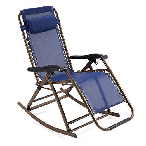 FDegage Folding Rocking Chair Zero Gravity Lounge Reclining Rocker Chair with Adjustable Pillow (Blue)