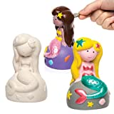 Mermaid Ceramic Coin Banks (Box of 2) For Kids To Paint & Decorate