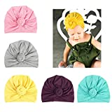 DANMY Baby Girl Hat With Rabbit Ears Toddlers Soft Turban Knot Bow Cap (Spiral Knot (5pcs))