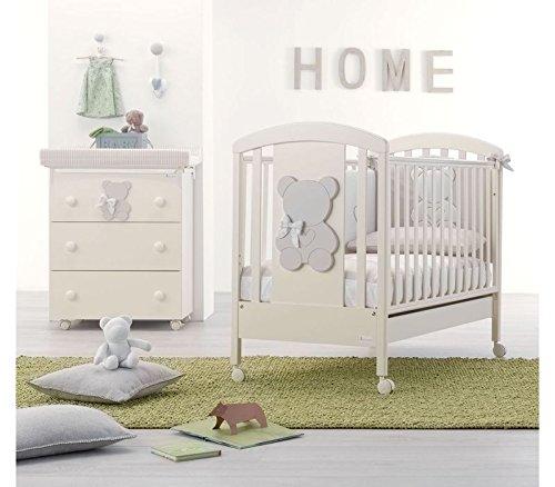 Lotto Kinderbett + Wickelkommode + Bettdecke Bestickt Funky Azzurra Design + Matratze elfenbein