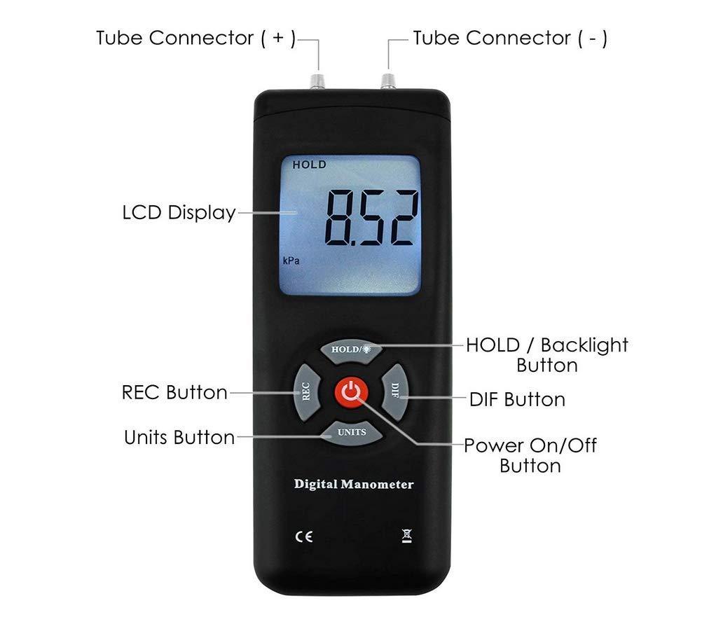 HYLH Manometro Digitale Misuratore di Pressione del Gas//Vuoto Portatile Portatile 11 unit/à con Retroilluminazione ECC Ventilazione Adatto per Una Pressione Differenziale di 1-2 Tubi