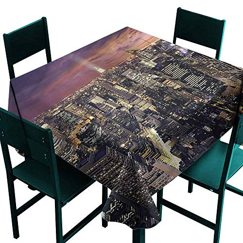 DONEECKL Restaurant Tablecloth NYC Offices in New York Skyscrapers Easy to Clean W50 xL50
